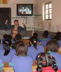 Classroom in Ninxia Province, China where Murray and Larson observed teacher utilizing TV lecture.