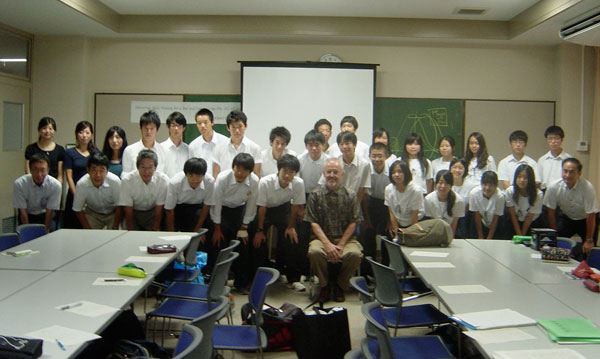 Professor Richard Larson with students at the Kobe Super Science High School in Japan.