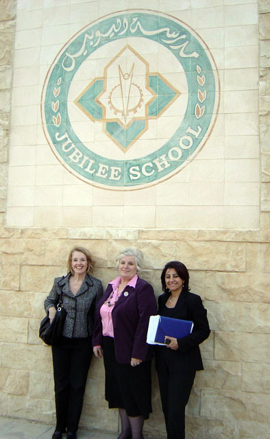 Elizabeth Murray, Director Abla Zuraykat, and Rana Qubain during a visit to the Jubilee School in Amman, Jordan.
