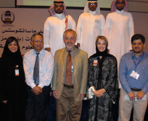 Larson and Murray with MIT BLOSSOMS Saudi team members.